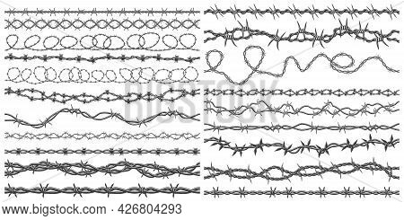 Razor Wire Silhouettes. Barbed Wire Metallic Border Elements, Sharply Barb Wire Fencing Vector Symbo