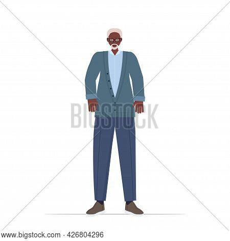 Old African American Man In Casual Trendy Clothes Senior Male Cartoon Character Standing Pose