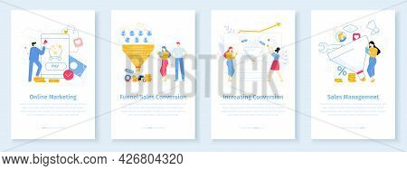 Online Marketing Conversion Rate Concept. Worker Attracting Internet Clients With Discounts. Funnel