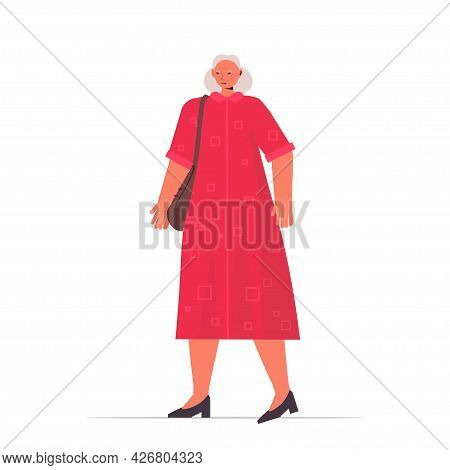 Old Woman In Casual Trendy Clothes Senior Female Cartoon Character Standing Pose