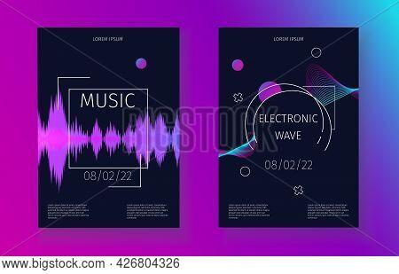 Sound Waves Banner Set. Music Soundtrack Electronic Vibration. Futuristic Dynamic Party Invitation C
