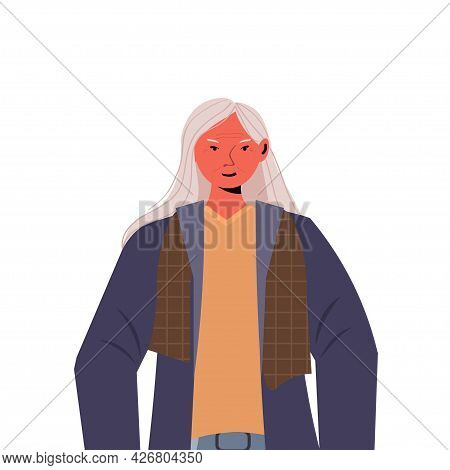 Old Woman In Casual Trendy Clothes Senior Female Cartoon Character Gray Haired Grandmother Portrait