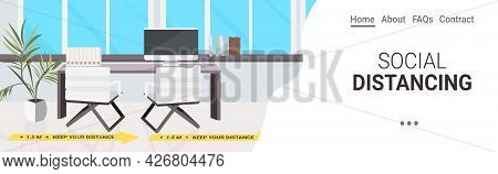 Workplace Desk With Signs For Social Distancing Yellow Stickers Coronavirus Epidemic Protection Meas
