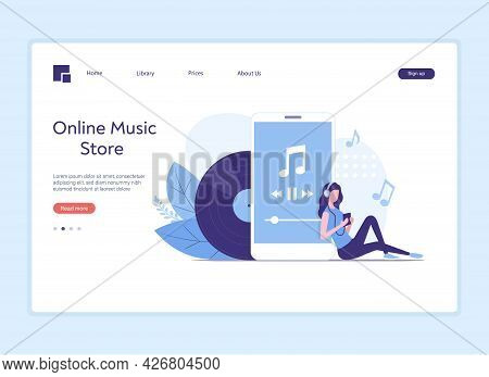 Music Listening. Online Music Store Landing Page. Colored Flat Vector Illustration.