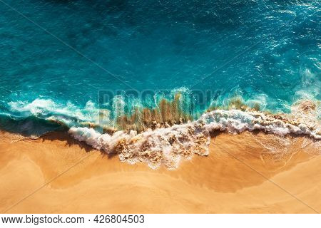 Relaxing Aerial Beach Scene, Summer Vacation Holiday Template Banner. Waves Surf With Amazing Blue O