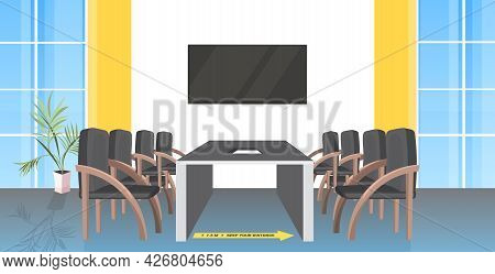 Round Table Meeting Room With Signs For Social Distancing Yellow Stickers Coronavirus Epidemic Prote