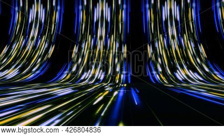 Curved Paths With Neon Lines In Stream. Animation. High-speed Neon Tracks In Cyberspace. Bright Neon