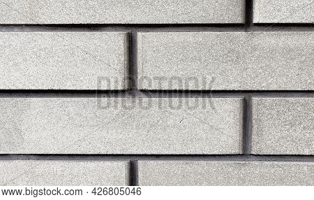 Cladding Brick Texture Close-up. Exterior Decoration Of Walls And Foundations Of Buildings,