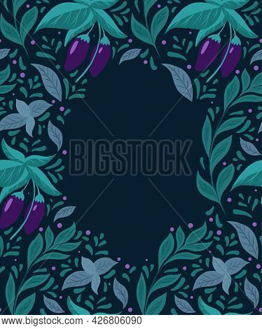 Card With Pattern Of Eggplants On The Bushes, Basil Twigs And Doodle Decoration With Copy Space On D