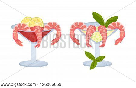 Appetizing Snack With Shrimp Or Prawn In Glass Vector Set
