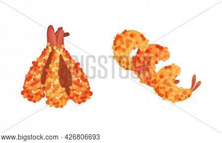 Appetizing Snack With Shrimp Or Prawn Tempura Vector Set