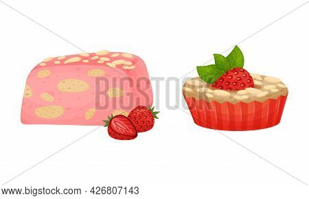 Sweet Pastry With Strawberry As Sugary Dessert And Patisserie Vector Set