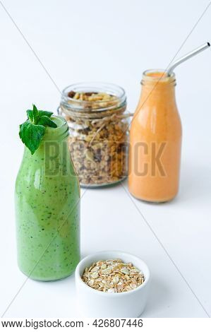 Seasonal Matcha Green Vegan Smoothie With Chia Seeds And Mint Pumpkin Carrot Smoothie Drink Detox Gl