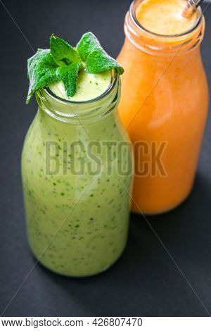 Seasonal Matcha Green Vegan Smoothie With Chia Seeds And Mint Pumpkin Carrot Smoothie Drink Detox Br