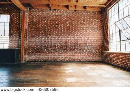Grunge red brick wall textured background