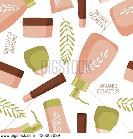 Organic Cosmetics Seamless Pattern. Spa And Natural Cosmetic Elements. Cream Jar, Tubes, Bottles Pas