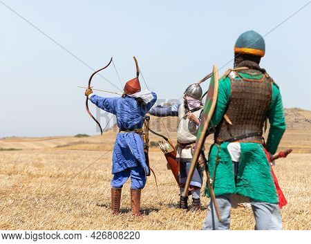 Tiberias, Israel, July 02, 2021 : Foot Warriors - Archers - Participants In The Reconstruction Of Ho