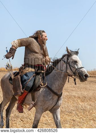 Tiberias, Israel, July 02, 2021 : Horse Warrior - Participant In The Reconstruction Of Horns Of Hatt