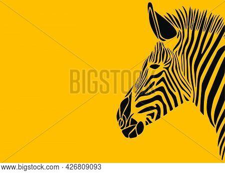 Sketch Of Zoo Wild Animal Zebra Outline Editable Illustration