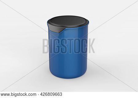 Paint Can With A Lid Isolated On White Background, Template For Design And Advertising, Mockup. 3d I