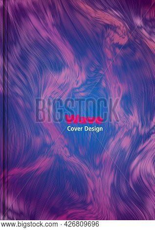 Marble, Ink Wave Cover Design, Flyer Vector Template In Violet Color Background