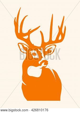 Sketch Of Zoo Wild Animal Horned Deer Head Silhouette Or Outline Editable Illustration