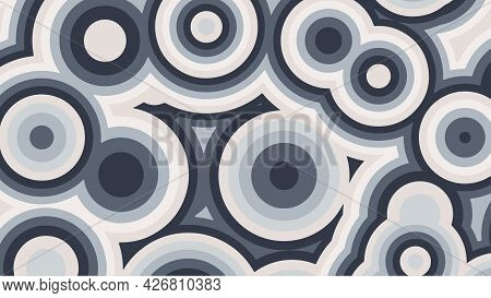 Abstract Background Of Grey Concentric Circles. Vector Illustration.