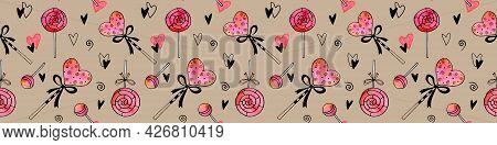 Seamless Hand Drawn Pattern Of Watercolor Candy, Sweets, Lollipops, Hearts. Holidays Backgrounds And