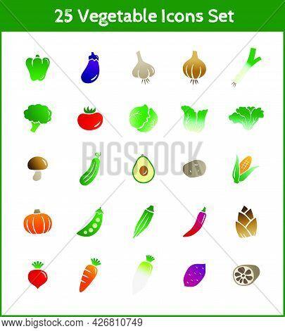 25 Vegetable Icons Illustration Set (green Peppers, Eggplant, Garlic, Onion, Green Onion, Broccoli,