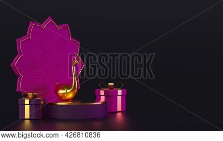 Diwali, Festival Of Lights Podium Scene With 3d Indian Rangoli, Gift Box And Golden Peacock. Holiday