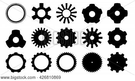 Gears Icon, Vector. Machinery Or Apparatus Icon