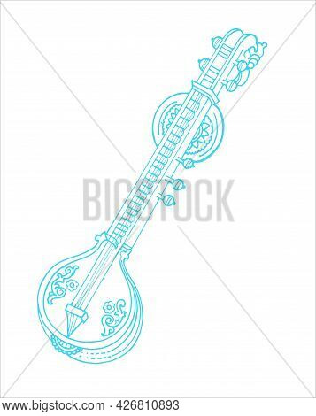 Sketch Of Goddess Saraswati Traditional Music Instrument Veena Outline Editable Illustration