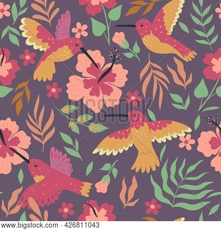 Seamless Pattern With Hummingbirds And Hibiscus. Vector Image.