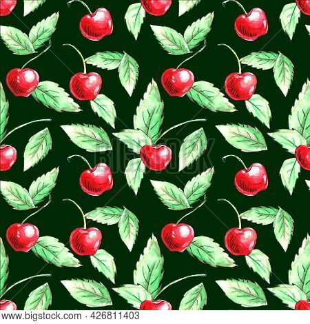 Seamless Pattern Of Watercolor Single Cherries On Green Background. Hand Drawn Bright Texture, Image