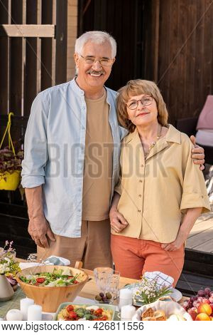 Positive senior married couple hugging and looking at camera when standing at served table