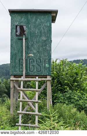 Green High Seat For Hunters As A Hiding Place In The Hunting Area - High Stand