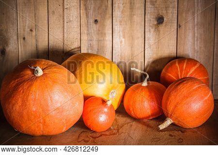 Pumpkins On Grunge Wooden Backdrop, Background Table. Autumn, Halloween, Pumpkin, Copyspace