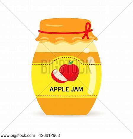 Glass Jar With Homemade Apple Jam. Label With Apples On A Jar Of Confiture.