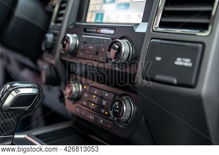 Luxury Car Interior - Multimedia Display, Shift Lever And Dashboard. Interior Detail Of New Modern C