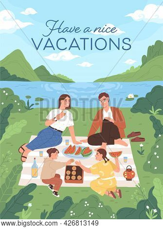 Vertical Card With Happy Family At Picnic Outdoors. Parents And Children Eating Food In Nature On Su