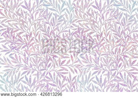 Pink leaf holographic pattern remix from artwork by William Morris