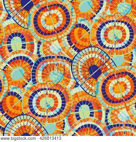 Tropical Vector Rainbow Seamless Pattern Background. Backdrop With Mosaic Style Oval Pairs Of Rainbo