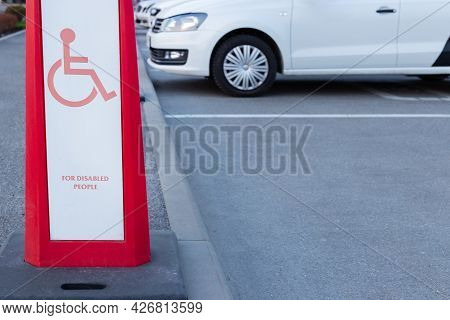 Handicapped Parking Lot In The City Near The Shopping Center.
