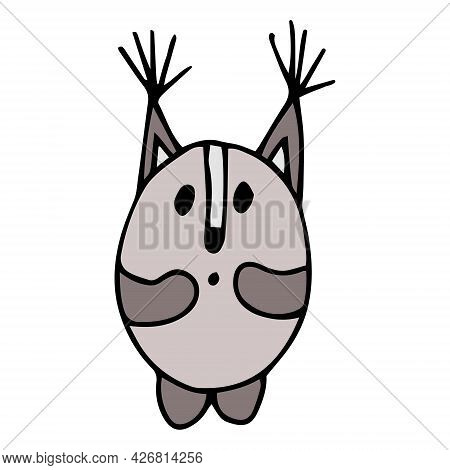 Cute Funny Squirrel Illustration In A Doodle Style. Brown Color, Black Outline, White Background. Id