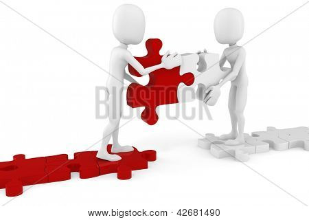 3d man and puzzle