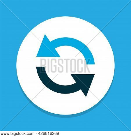 Sync Icon Colored Symbol. Premium Quality Isolated Synchronize Element In Trendy Style.