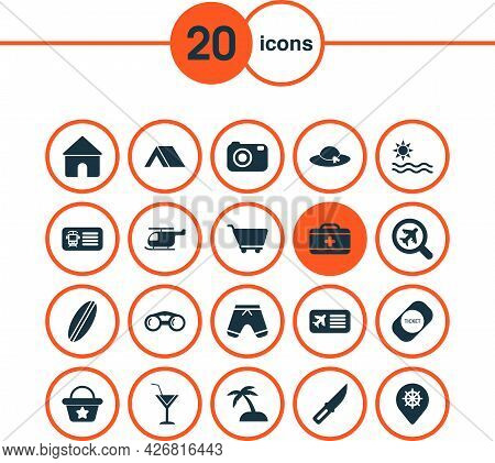 Trip Icons Set With Tent, Camera, Helicopter And Other Medical Case Elements. Isolated Vector Illust