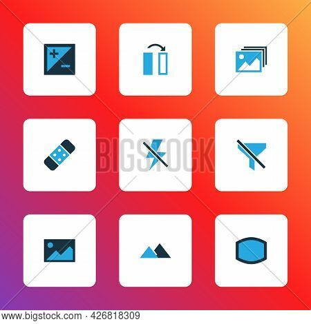 Image Icons Colored Set With Wide Angle, Flip, Filter And Other No Filter Elements. Isolated Vector