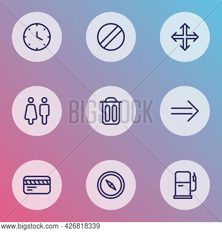 Direction Icons Line Style Set With Toilet, Navigation, Garbage And Other Trash Bin Elements. Isolat