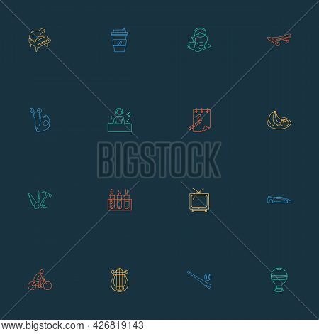 Hobby Icons Line Style Set With Tea Set, Djing, Baseball And Other Airship Elements. Isolated Vector